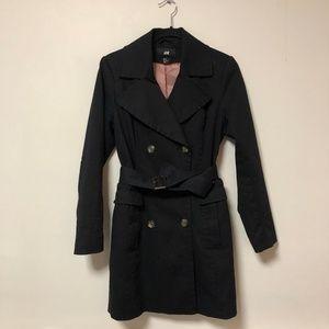 H&M Women's Black Trench Coat Size 10